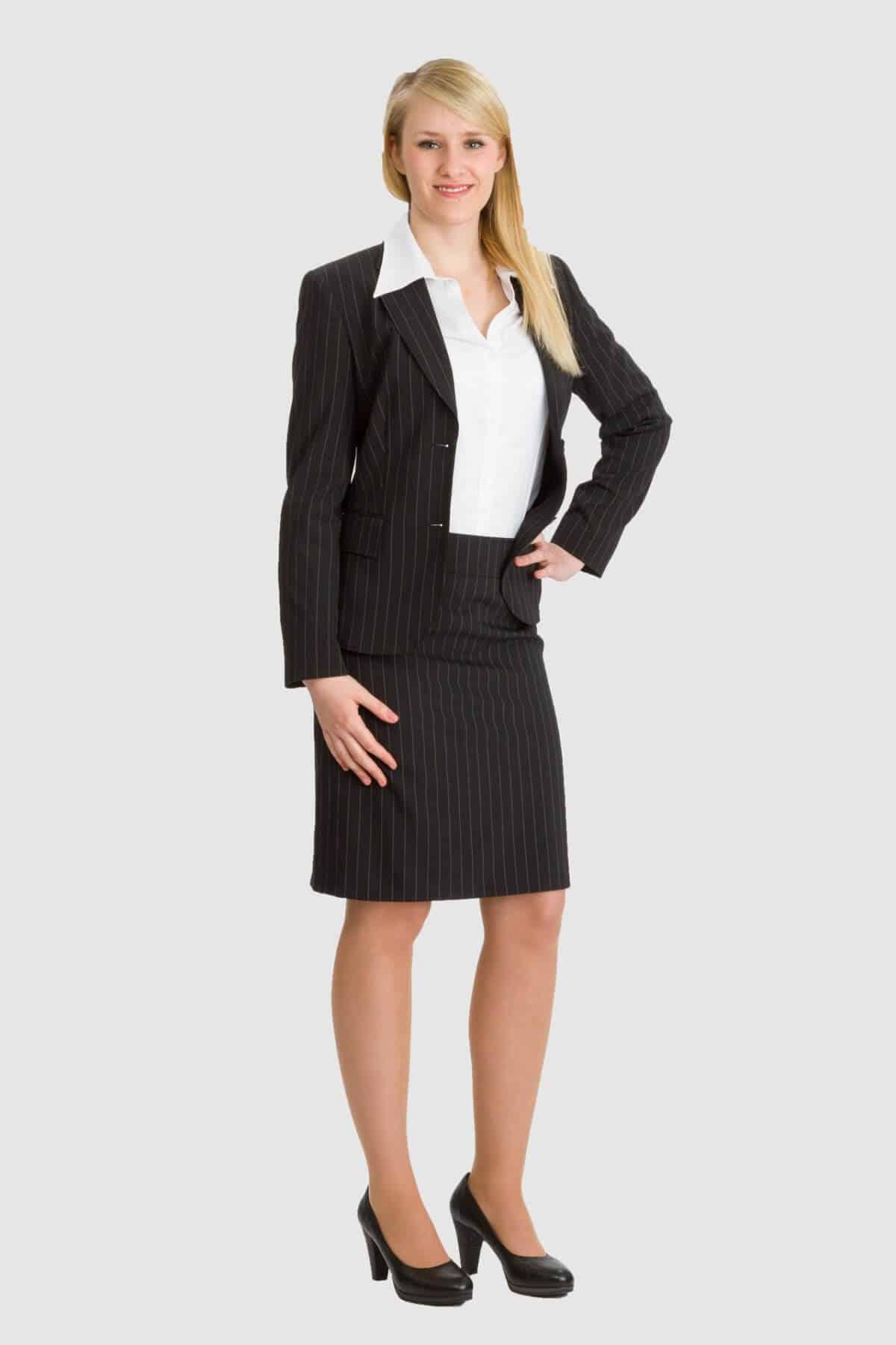 Betty Barclay schwarzes Kostüm mit Nadelstreifen