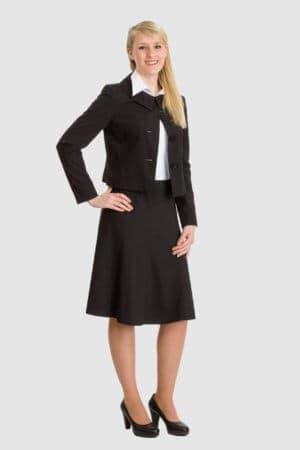 Betty Barclay schwarzer Rock Glocke mit schwarzem Blazer mit kurzem Bubikragen