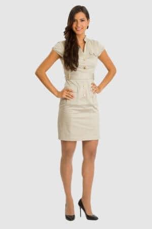 H&M sandfarbenes Kleid